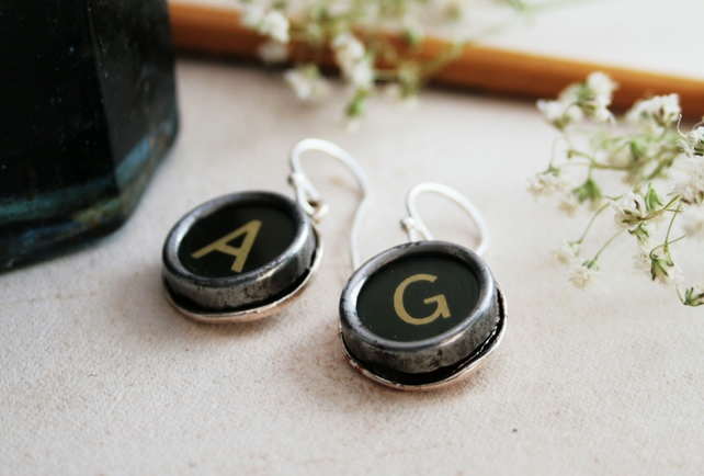 Personalized Monogram Earrings Typewriter Key Earings Custom Letters Jewellery