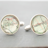 Sterling Silver Cufflinks with Custom Map Fragments Personalized Cuff Links