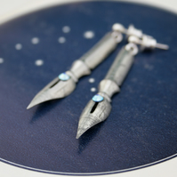 Silver Dangling Fountain Pen Nibs Earrings