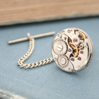 Tie Tack with Steampunk Watch Movement