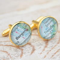 Custom Made Map Cufflinks in Gold Colour