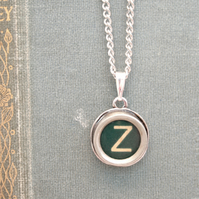 GREEN Typewriter Key Initial Necklace, Monogram Necklace