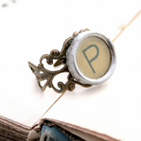 monogram ring with custom letter from typewriter key adjustable brown ring