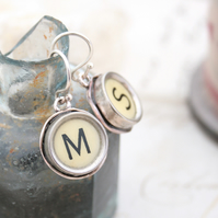 IVORY Typewriter Key Monogram Earrings, Initial Dangling Earrings