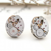 Oval Stud Earrings Steampunk Watch Movement Sterling Silver Post with Rubies