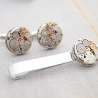 Cufflinks and Tie clip set of Steampunk Accessories