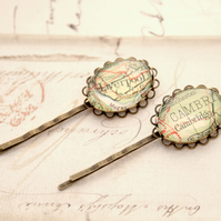 Set of 2 Bobby Pins with Custom Map Locations