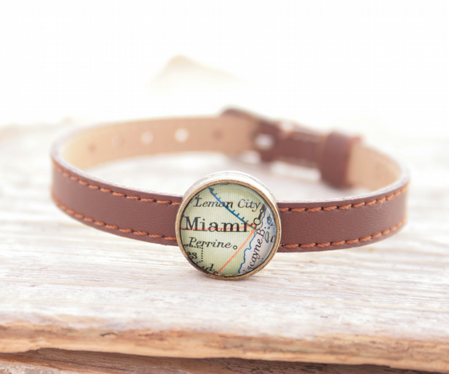 Personalized Brown Leather Bracelet with Map Slider Bead