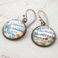 Custom Map chanderlier Earrings. choose your own places