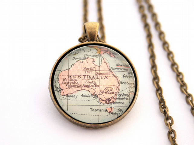 Map Necklace , Custom Map Bronze Pendant Necklace