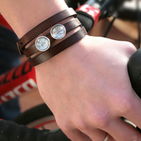 Mens Wrap Bracelet Brown Leather with custom map slider beads