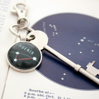 Custom Star Constellation Keyring Silver Zodiac Keychain in black