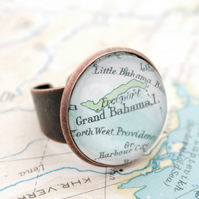 Copper ring with Map fragment Personalized Adjustable copper anniversary gift