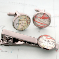 Set of Cufflinks and Tie clip with maps of your choice in black colour