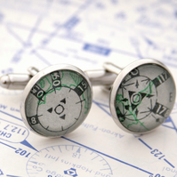 Set of cufflinks with pilot charts in silver colour