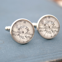 Cufflinks with south pole map in silver colour
