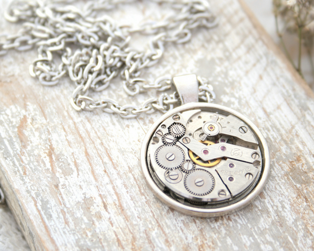 Steampunk Necklace Watch Movement Unisex Necklace
