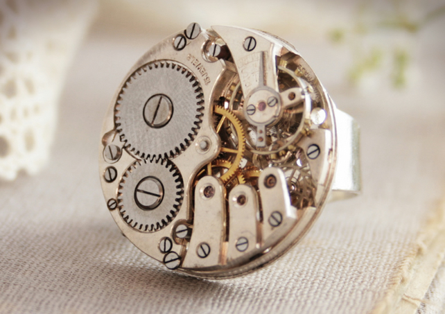 Silver Cocktail Ring Steampunk Statement Ring