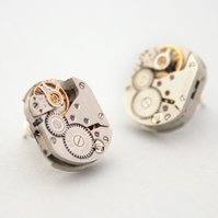 Stud Earrings Steampunk Watch Movement with Ruby Sterling Silver Post