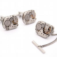 Steampunk Cufflinks and Tie Tack with Chain