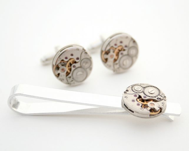 Round Cufflinks and Tie bar set Steampunk Accessories