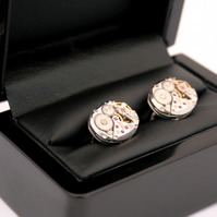 Luxury Sterling Silver Cufflink with Watch Works