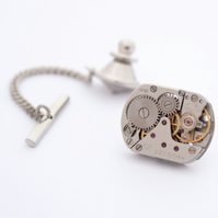 Steampunk Tie Tack with Chain