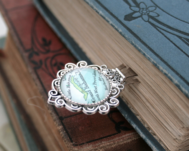 Custom Map Silver Bookmark Personalized Gifts for Readers