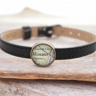 Personalized BLACK Leather Bracelet with Map Slider Bead