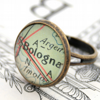 Personalized Adjustable ring with Map fragment