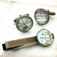Set of Cufflinks and Tie clip with maps of your choice in antique bronze colour