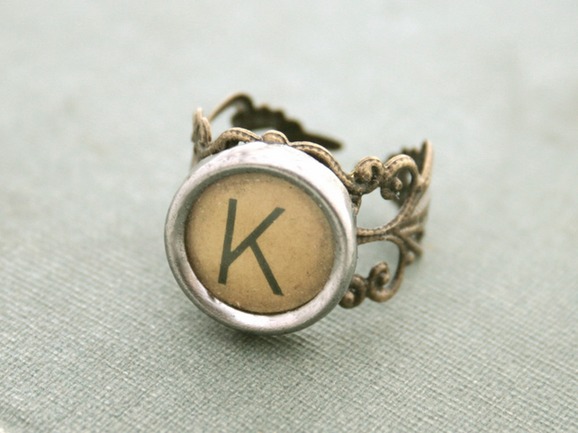 typewriter key monogram ring with custom letter adjustable brown ring