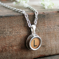 Brown Typewriter Key Personalized Letter Necklace