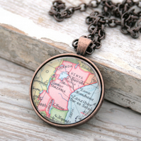 Copper Map Necklace , Custom Map Copper Necklace Anniversary gift