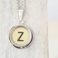 IVORY Typewriter Key Monogram Necklace, Initial Necklace