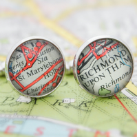 London Cufflinks Gift for Londoner  You Chose Any Area of Greater London