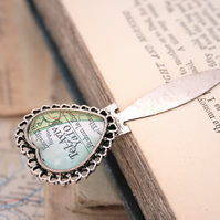 Custom Map Bookmark in Heart Shape silver colour
