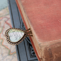 Heart bookmark with custom map in antique bronze colour