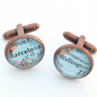 Copper Cuff link Personalized Copper Wedding Anniversary Gifts for Men