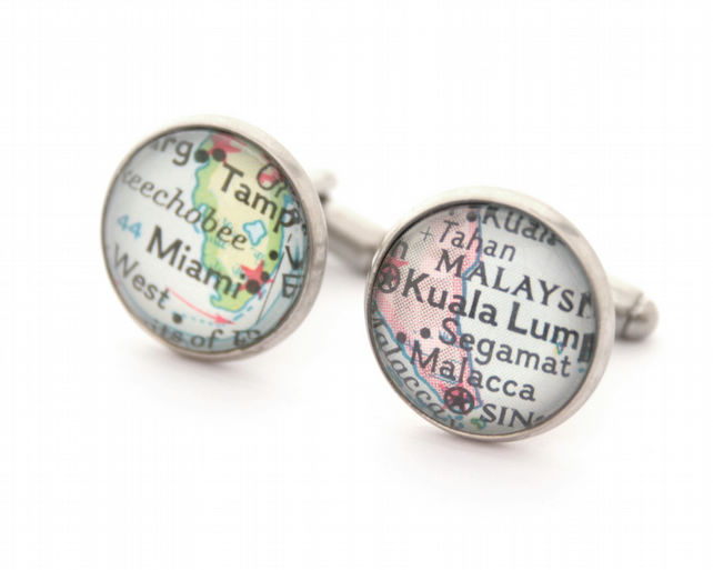 Antique Silver Custom Map Cufflinks Personalized Jewelry for Men