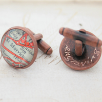 Engraved old copper Custom Map Cufflinks Made to Order