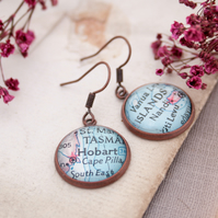 Copper Earrings with map Custom Jewellery Personalized with your Location