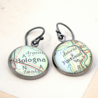 Gunmetal Black Earrings with map Custom Jewellery Personalized with your place