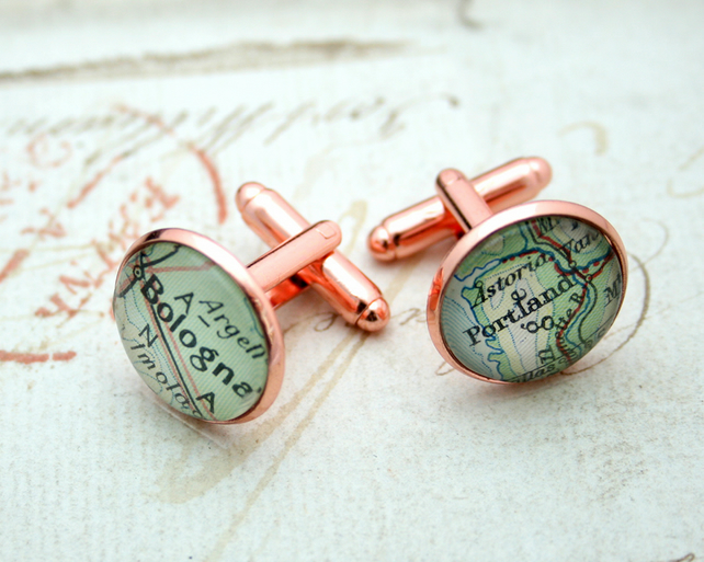 Rose Gold Map Cufflinks Personalized Gifts for Men
