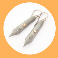 Grey Dangling Earrings Fountain Pen Nibs Gift For a Writer