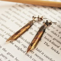Gold Dangling Earrings Fountain Pen Nibs Gift For a Teacher