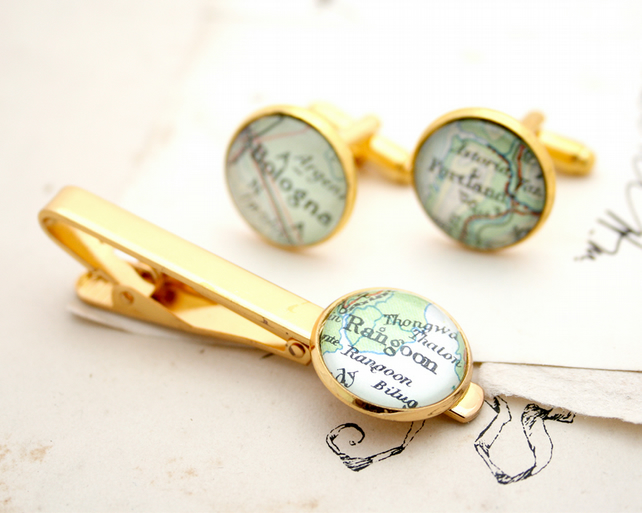 Gold Set of Cufflinks and Tie clip with maps of your choice bespoke gifts