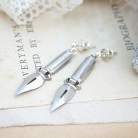 Silver Dangle Italian Pen Nibs Earrings