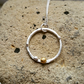 Silver Circle Necklace, Textured Circle with Gold Accent