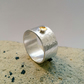 Wide Textured Silver Ring With Little Gold Cup